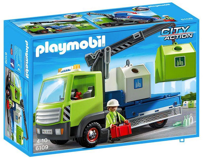 Playmobil city action 6109 pas cher camion avec grue et - Caserne pompier playmobil pas cher ...