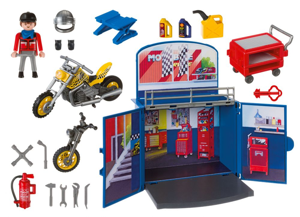 playmobil city action 6157 pas cher coffre atelier de moto. Black Bedroom Furniture Sets. Home Design Ideas