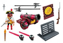 PLAYMOBIL Pirates 6163 Pirate avec canon rouge