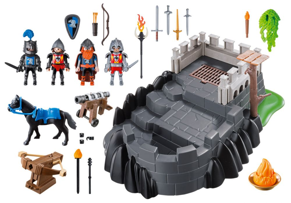 Playmobil knights 6627 pas cher bastion des chevaliers - Chateau chevalier playmobil ...