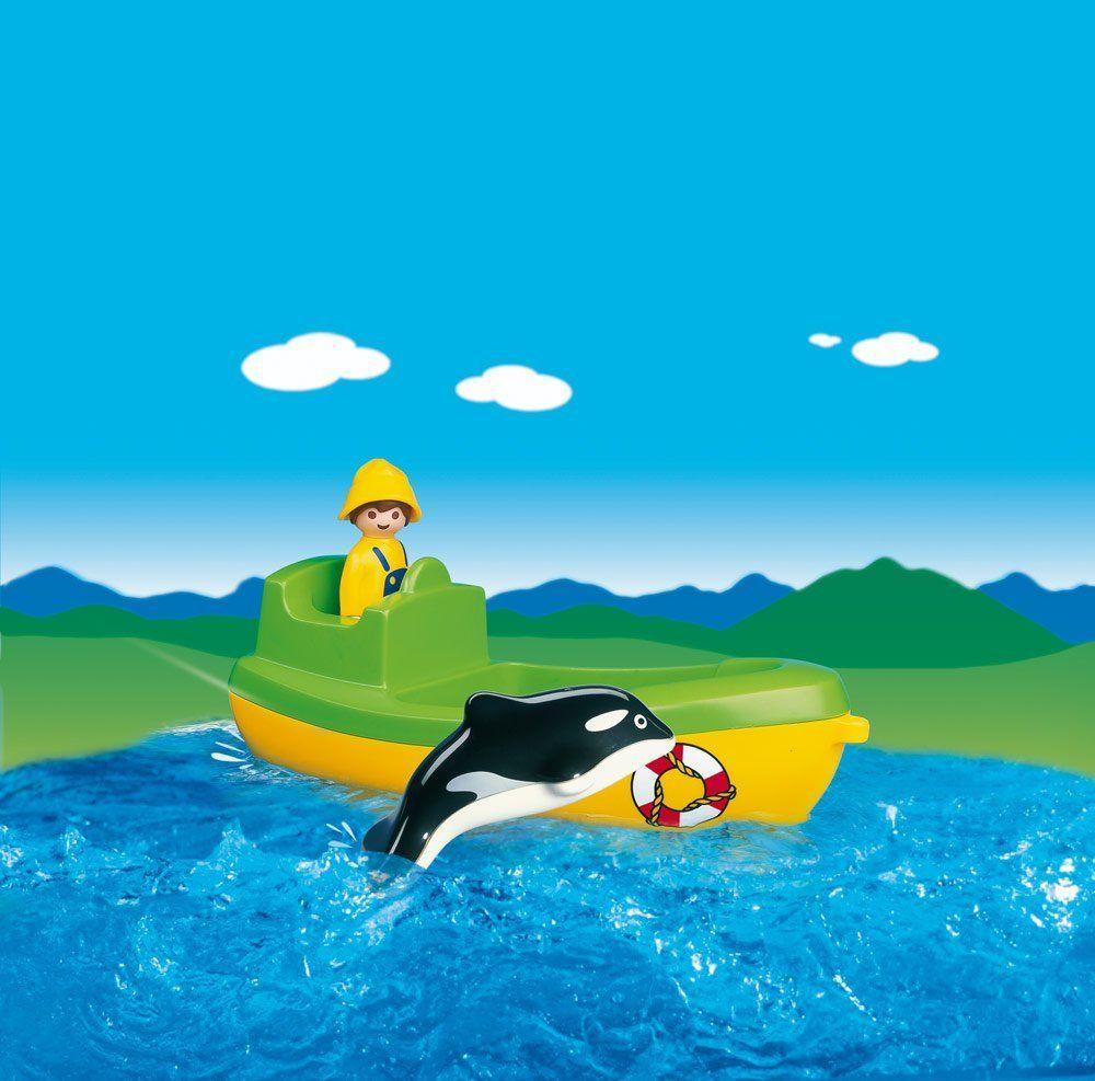 playmobil 123 6739 pas cher p cheur bateau et dauphin. Black Bedroom Furniture Sets. Home Design Ideas