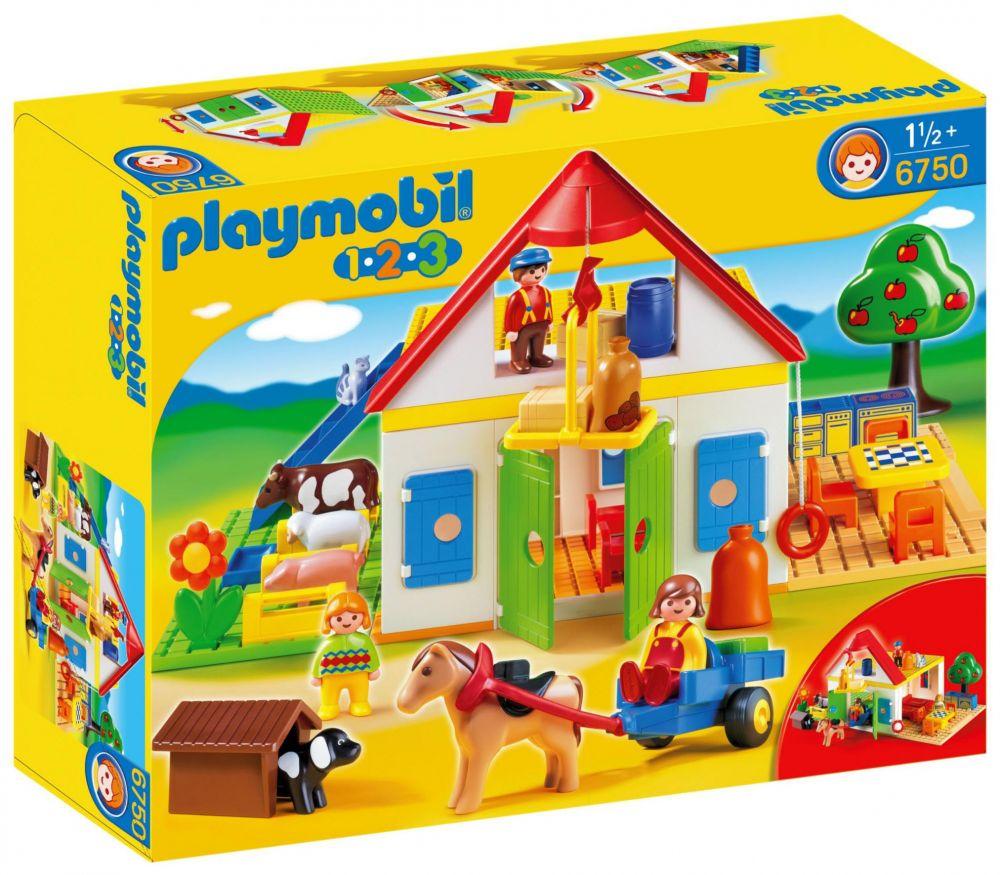 playmobil 123 6750 pas cher coffret grande ferme. Black Bedroom Furniture Sets. Home Design Ideas