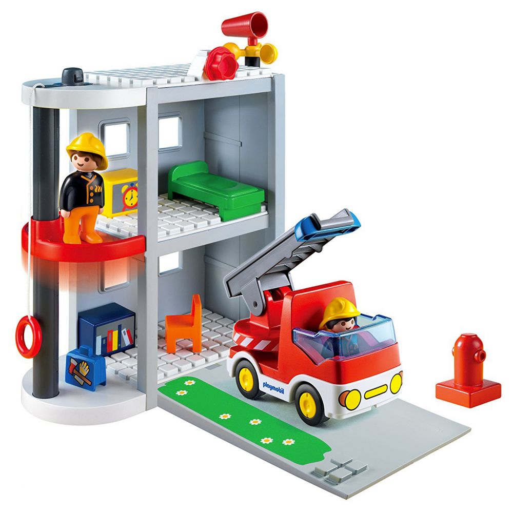 playmobil 123 6777 pas cher caserne de pompiers transportable. Black Bedroom Furniture Sets. Home Design Ideas