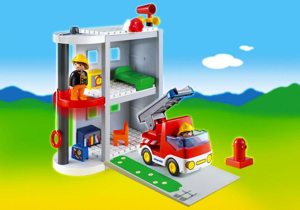 playmobil 123 6777 pas cher caserne de pompiers. Black Bedroom Furniture Sets. Home Design Ideas
