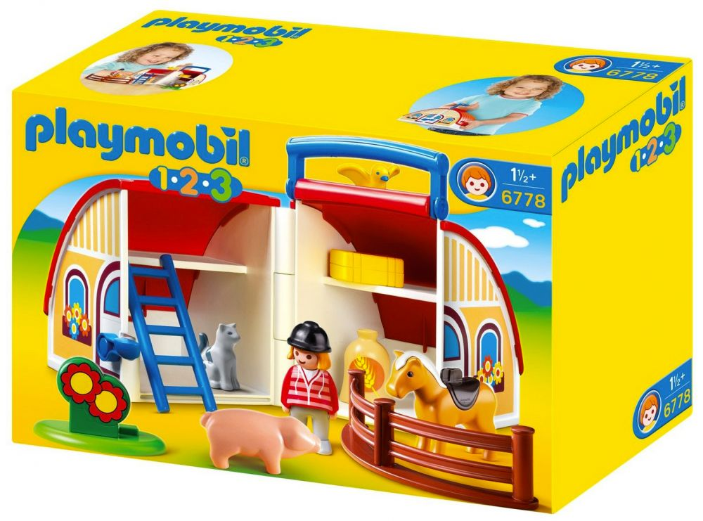 playmobil 123 6778 pas cher ferme transportable. Black Bedroom Furniture Sets. Home Design Ideas