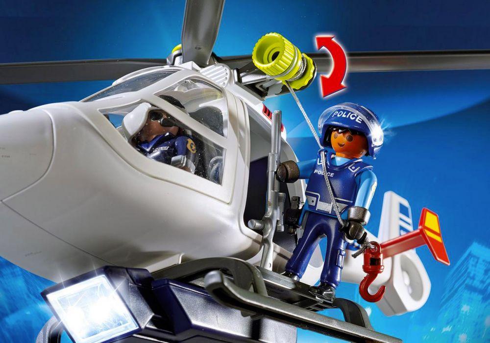 Playmobil city action 6921 pas cher h licopt re de police avec projecteur de recherche - Caserne de police playmobil ...
