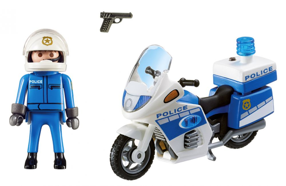 playmobil city action 6923 pas cher moto de policier avec gyrophare. Black Bedroom Furniture Sets. Home Design Ideas
