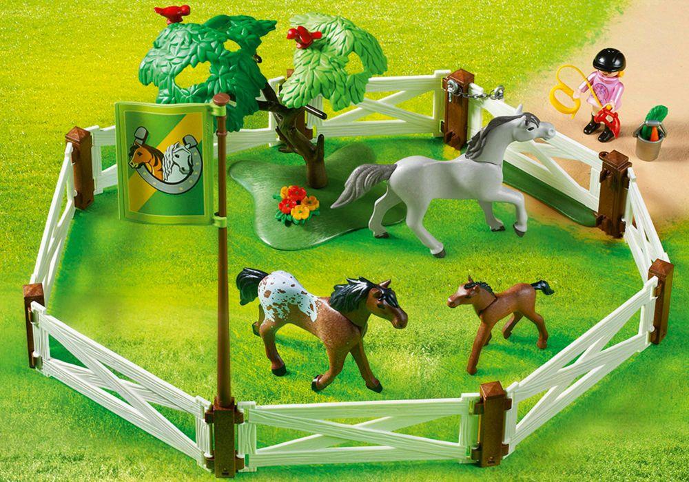 playmobil country 6931 pas cher enclos avec chevaux. Black Bedroom Furniture Sets. Home Design Ideas