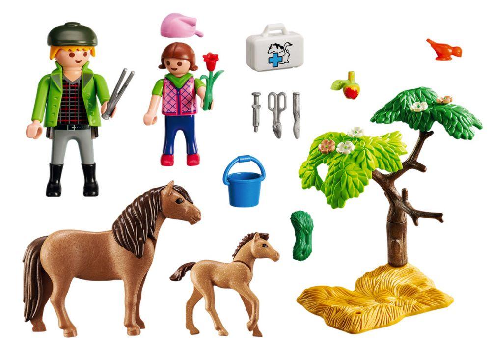 playmobil country 6949 pas cher v t rinaire avec enfant et poneys. Black Bedroom Furniture Sets. Home Design Ideas