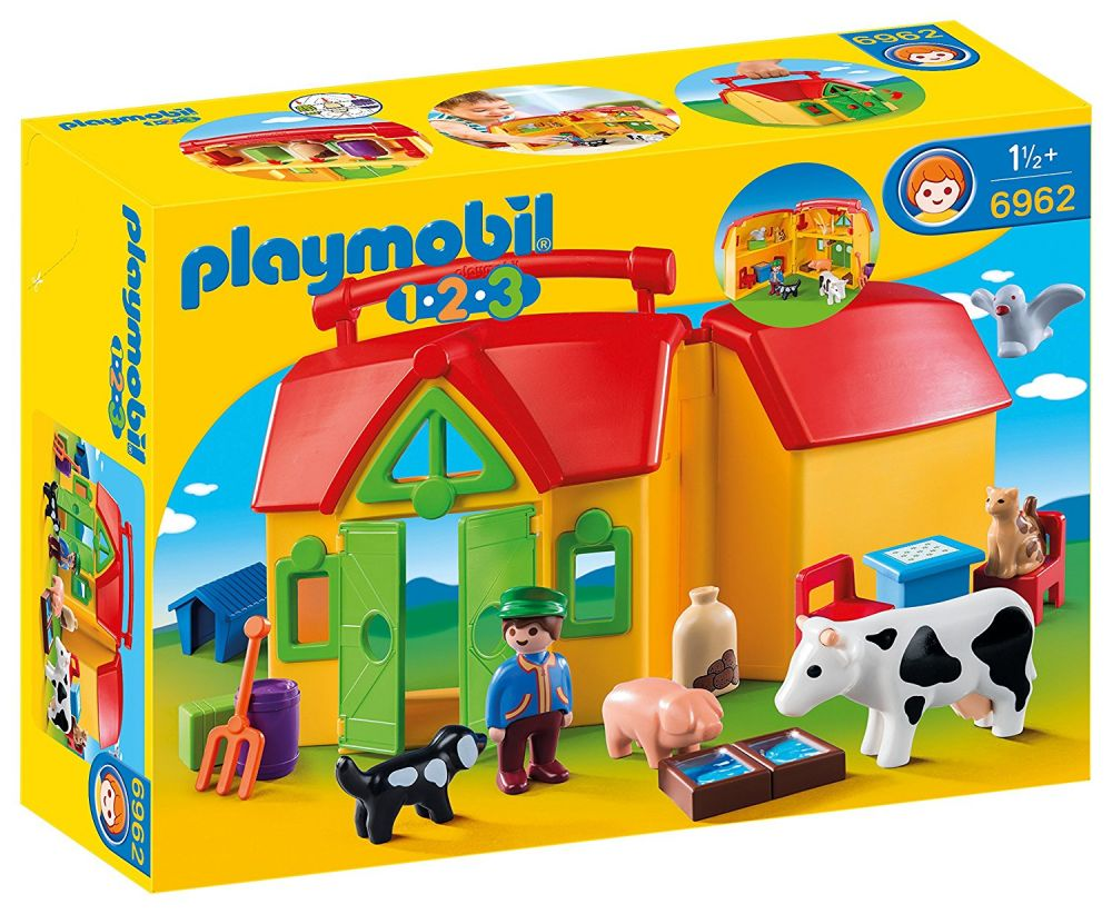 playmobil 123 6962 pas cher ferme transportable avec animaux. Black Bedroom Furniture Sets. Home Design Ideas