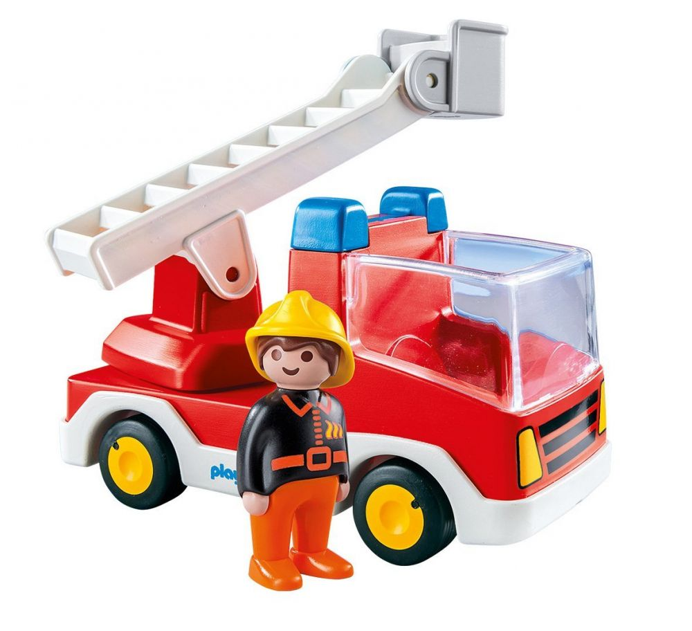 Playmobil 123 6967 pas cher camion de pompier avec - Caserne pompier playmobil pas cher ...
