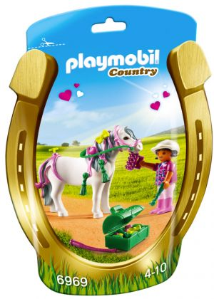 PLAYMOBIL Country 6969 Poney à décorer Coeur