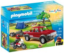 PLAYMOBIL Family Fun 70116 Pick-up et moto avec tente