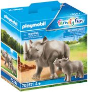 PLAYMOBIL Family Fun 70357 Rhinocéros et son petit