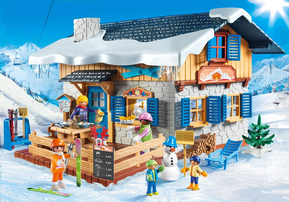 playmobil family 9280 pas cher chalet avec skieurs