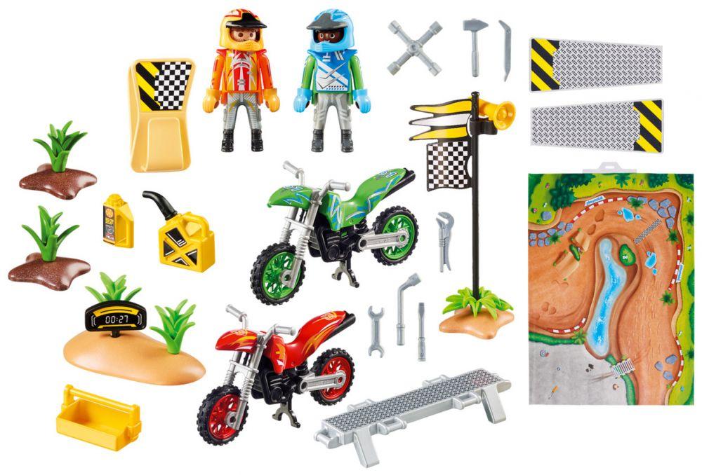 Playmobil action 9329 pas cher pilotes motocross avec support de jeu - Moto cross playmobil ...