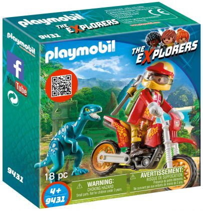 PLAYMOBIL The Explorers 9431 Pilote de moto et raptor