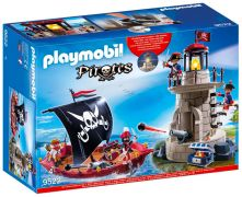 PLAYMOBIL Pirates 9522 Chaloupe de pirates et phare de soldats